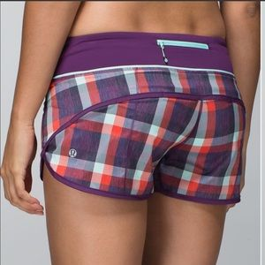 Lululemon Purple Plaid Shorts